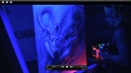 UV Black-Light Airbrushing on Canvas  w/ Gear Boxxx